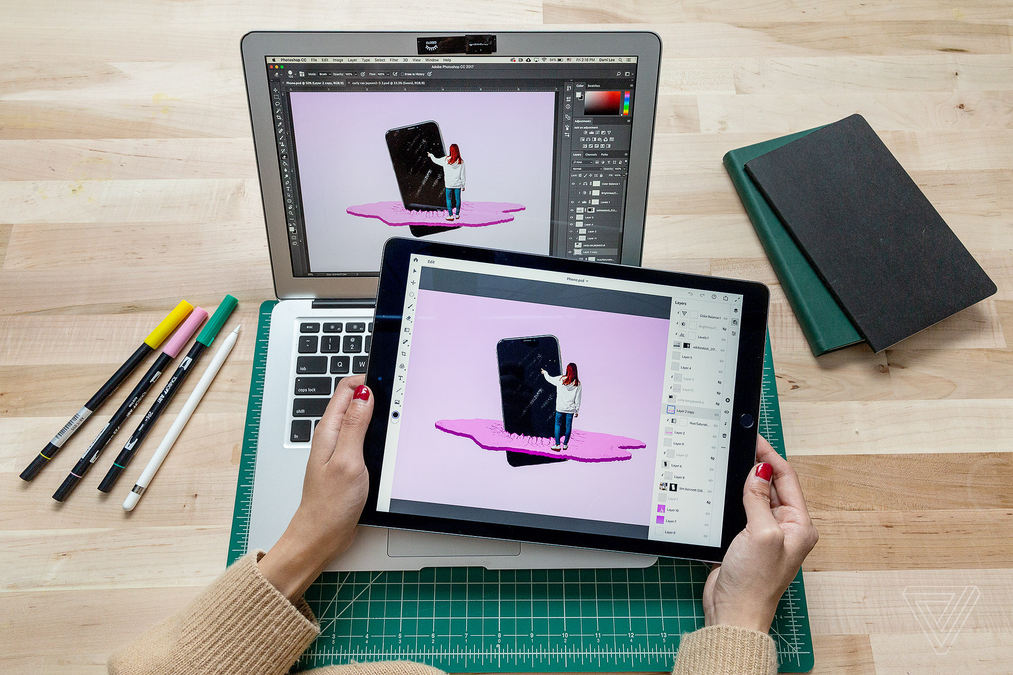 Adobe Photoshop on a tablet