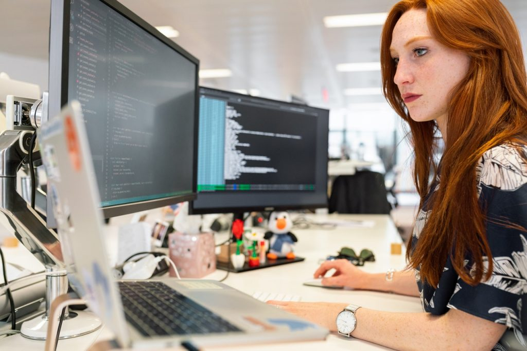 woman during software development